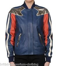 (ROBERTO) JUST CAVALLI Blue Lamb Leather Jacket Made In Italy ITA40 / Uk8 BNWT