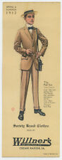 1912 men's suit pictured on trade card for store in Cedar Rapids, IA