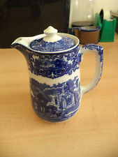 Antiguo Viejo Azul y Blanco Porcelana George Jones Abbey Cafetera Tetera