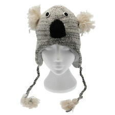Fun Grey Koala Handmade Winter Woollen Animal Hat Fleece Lining One Size, UNISEX