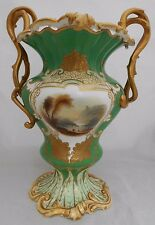 Coalport Vase Rococo Revival Green Ground Painted Landscapes Gold Gilt H 27cm #1