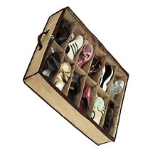 12 Pairs/Grids Transparent Shoes Storage Organiser Space Saving Under Bed QT