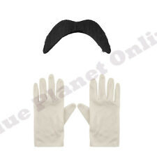 MENS ADULTS WHITE GLOVES & BLACK MOUSTACHE TASH SUPER FANCY DRESS MARIO LUIGI