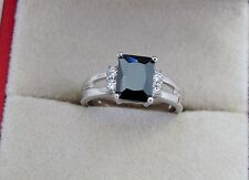 Glorious  Black Sapphire Solitaire with Accents 10KT White Gold Filled Size 8+/Q