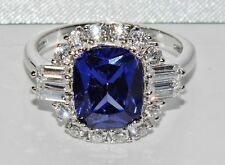 Sterling Silver 4.00ct Simulated Tanzanite Large Cocktail Ring size O