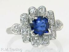 Antique Platinum .93ct Genuine Diamond & Sapphire Art Deco Engagement Ring $2625
