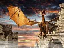 Wall Mural Dragon Castle Fantasy Large Repositionable Vinyl Interior Art Decor