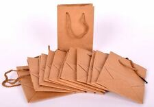 12 Pcs Luxury Natural 8x11cm Bags Kraft Paper Gift Bag Handles Recyclable Loot