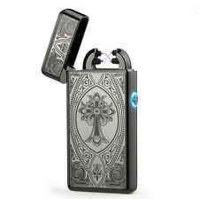 Black Double Arc Light USB Electronic Rechargeable Cross Cigarette Lighter