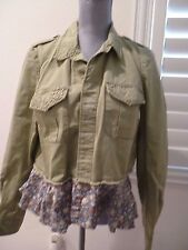 Free People We The Free studded Button Up Army Green Light Jacket ruffled SZ M