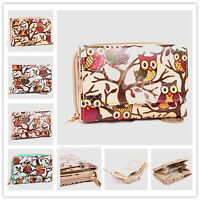 LADIES OWL BUTTERFLY PRINT OILCLOTH WALLET FLAP ZIP AROUND PURSE