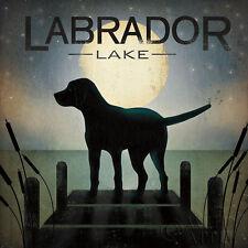 Moonrise Black Dog - Labrador Lake Ryan Fowler Pets Animals Print Poster