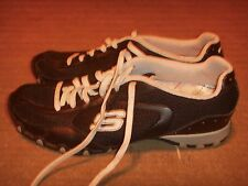 SKECHERS Lace Up Bikers Black White Womens Size 7.5