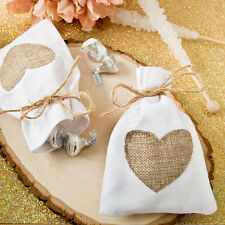 30 Rustic White Cotton Favor Bags With Burlap Heart Bridal Shower Wedding Favors