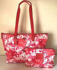 COACH Getaway Floral Pink Red Weekender Signature Nylon Tote Travel Bag Pouch L