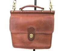 COACH Classic Brown Leather Willis Cross Body Messenger Bag