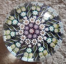 Vintage PERTHSHIRE GREEN PP2? Millefiori 10 Spoke Art Glass Scottish Paperweight