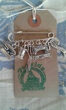 HAND MADE Sewing Machine Dressmaker Seamstress Silver link Brooch Pin