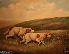 "High Quality Oil Painting Stretched Canvas 8x10"" A Pair of English Foxhound Dogs"