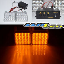 2x 20 Amber Yellow New LED Emergency Hazard Warning Grille Strobe Lights