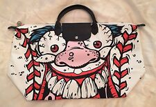 LONGCHAMP X JEREMY SCOTT Le Pliage Madballs White Baseball Monster Bag LMT RARE
