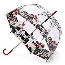 Fulton Lulu Guinness Birdcage-2 Dome Shaped London Print Umbrella Transparent