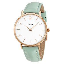 Cluse Minuit White Dial Pastel Mint Leather Ladies Watch CL30017