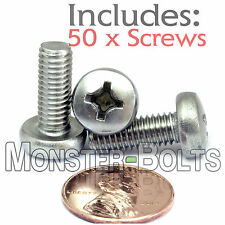 M6 x 16mm - Qty 50 - Stainless Steel Phillips Pan Head Machine Screws DIN 7985 A