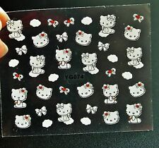 White Hello Kitty with Red Bow Nail Stickers,Hello kitty Heads,Nail Decals,Nails