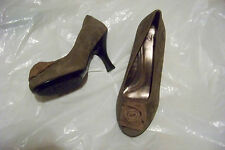 womens sofft brown tone suede leather heels shoes size 10 w