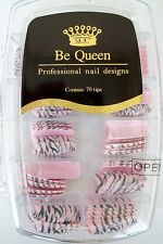 Be Queen N72 Professional Nail Design Tips 70 Count Zebra Pink Gray Glitter
