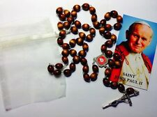 BROWN Rosary touched to Pope John Paul II first class relics COA GIFT JPII JP II