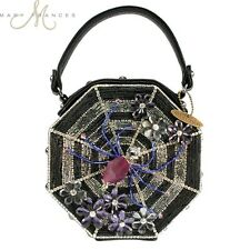 NEW Mary Frances CHARLOTTE SPIDER WEB Black Leather Halloween Bag Handbag Purse