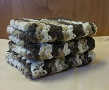 """3 LARGE 9"""" X 9"""" HANDMADE CROCHET COTTON WASH CLOTHS OR DISH CLOTHS IN BROWNS"""
