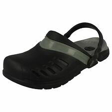 UNISEX SYNTHETIC CROC SANDALS  PREPAIR CLOG BLACK/SILVER M6 (UK5)/ W8 (UK 6)