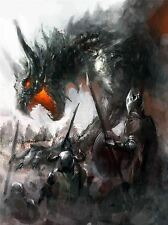 ART PRINT PAINTING DRAWING FANTASY DRAGON BATTLE MEDIEVAL WARRIOR LFMP1033