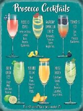 Prosecco Cocktails Wine Glass Drink Pub Tiki Bar Kitchen Small Metal/Tin Sign