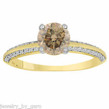 FANCY CHAMPAGNE BROWN DIAMOND ENGAGEMENT RING 1.27CT 14K YELLOW GOLD MICRO PAVE