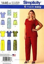 Simplicity Sewing Pattern 1446 Women's Top Pants Shorts 18-24 misses clothing