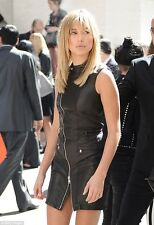 Diesel Black Gold Denvy Zipped Black Leather Mini Dress Hailey Baldwin UK 8 £790