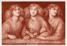 "Beautiful 1800s D. G. Rossetti Antique Print ""Three Graces"" SIGNED Framed COA"