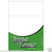 A4 Inkjet & Laser Printable Matt White Paper Sticker Sheets Cameo 2 Portrait
