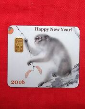 2 gram GOLD TGR BULLION Year of the Monkey Gold Bar Sealed (In Assay) LIMITED !