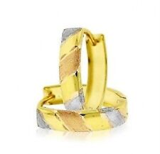 Cute! 100% 10K Yellow Gold Huggie Hoop Earrings with Tri-Color Gold Accents