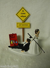 Wedding Just Married Fishing Cake Topper Tackle Box Pole ~Bride Dragging Groom~