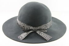 RETRO LADIES GREY DERBY/BOWLER HAT WITH SNAKE SKIN BOW UNIQUE (HT21)