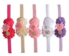 Baby Girl Elastic Headbands with Rose, Flower and Crystal (Pack of 5)