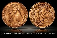 1967 New Zealand Bahamas Mule Error PCGS MS64RD 30th Ann. Label 2c 5c TrueView