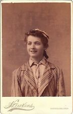 YOUNG WOMAN WEARING UNUSUAL ATTIRE IN MONTPELIER, OHIO (CABINET CARD)