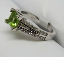 14k WHITE GOLD DIAMONDS AND PERIDOT BIRTHSTONE RING PRINCESS CUT